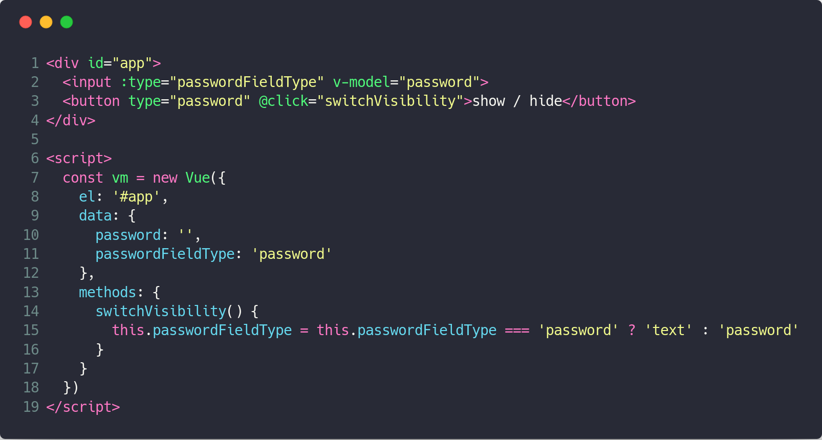 Show / hide password input values with Vue js